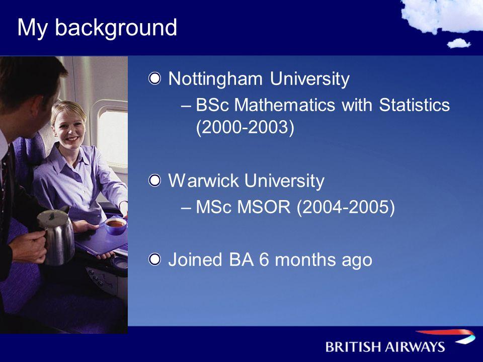 My background Nottingham University –BSc Mathematics with Statistics (2000-2003) Warwick University –MSc MSOR (2004-2005) Joined BA 6 months ago