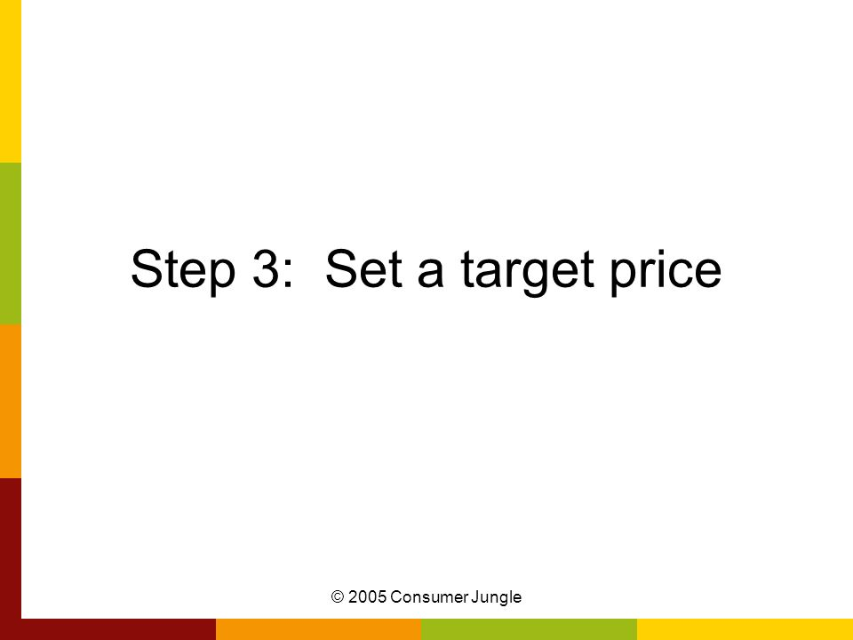 © 2005 Consumer Jungle Step 3: Set a target price