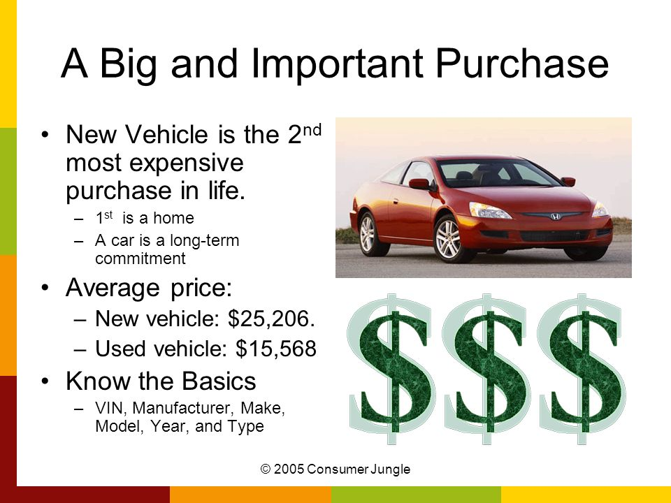 A Big and Important Purchase New Vehicle is the 2 nd most expensive purchase in life. –1 st is a home –A car is a long-term commitment Average price: