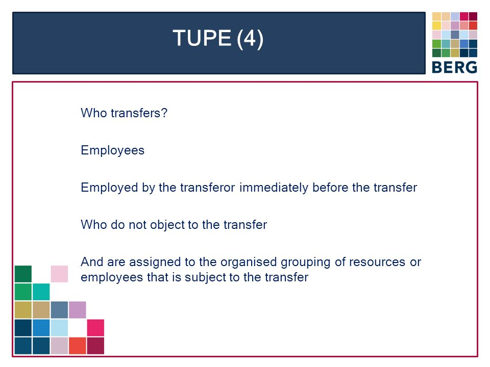 TUPE (4) Who transfers.