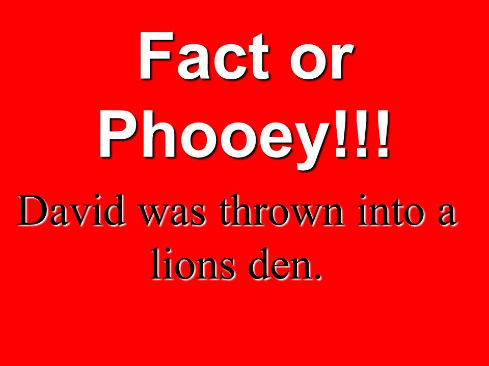 David was thrown into a lions den.