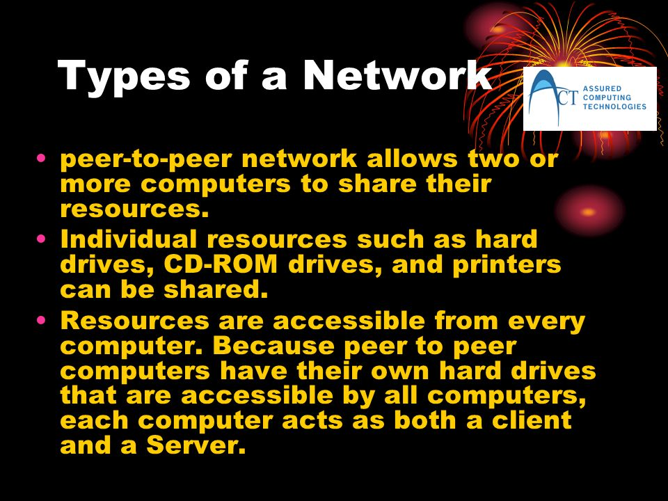 Types of a Network peer-to-peer network allows two or more computers to share their resources.