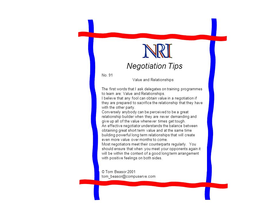 Negotiation Tips No.