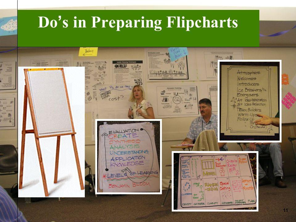 Do s in Preparing Flipcharts 11
