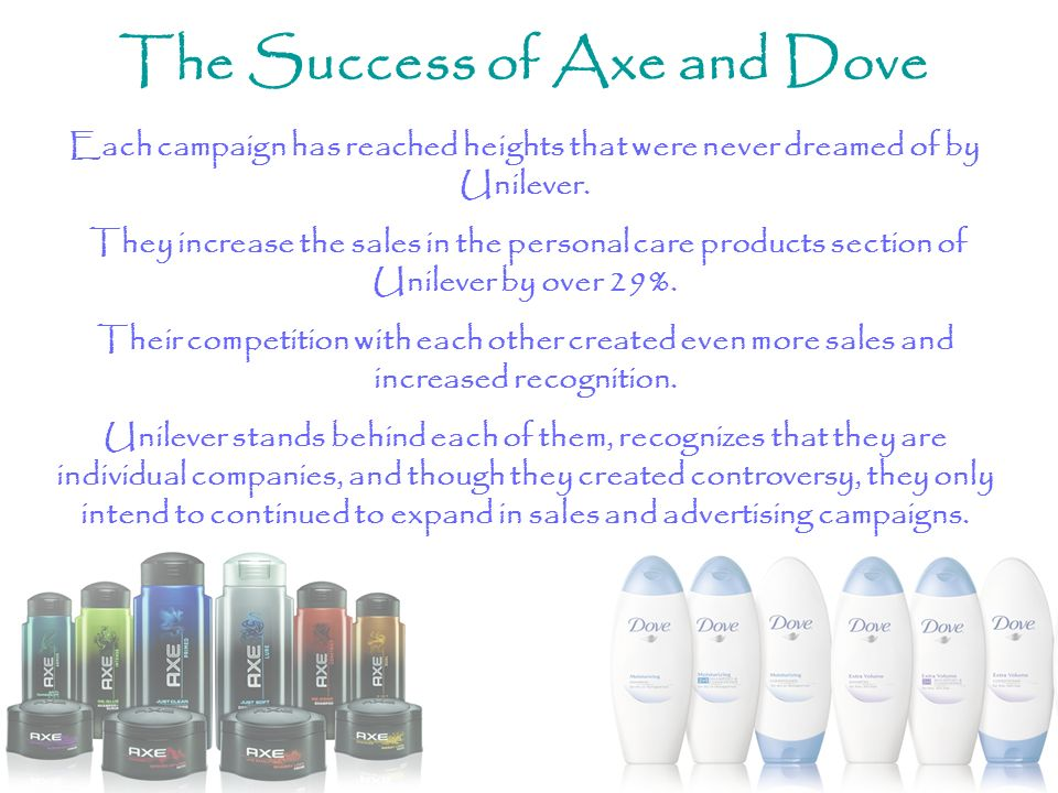 The Success of Axe and Dove Each campaign has reached heights that were never dreamed of by Unilever. They increase the sales in the personal care pro