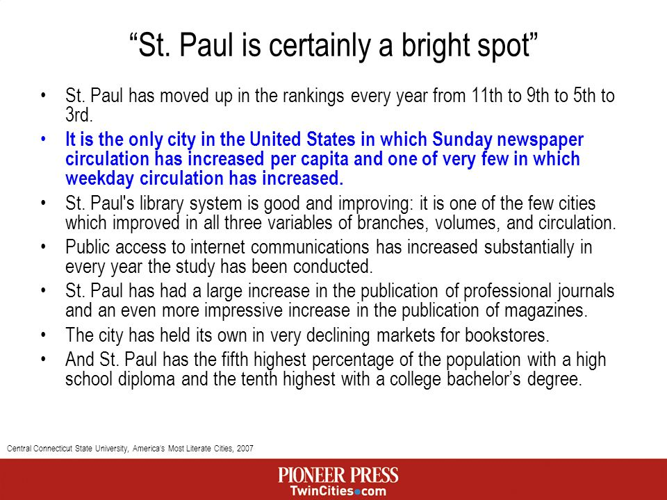St. Paul is certainly a bright spot St.
