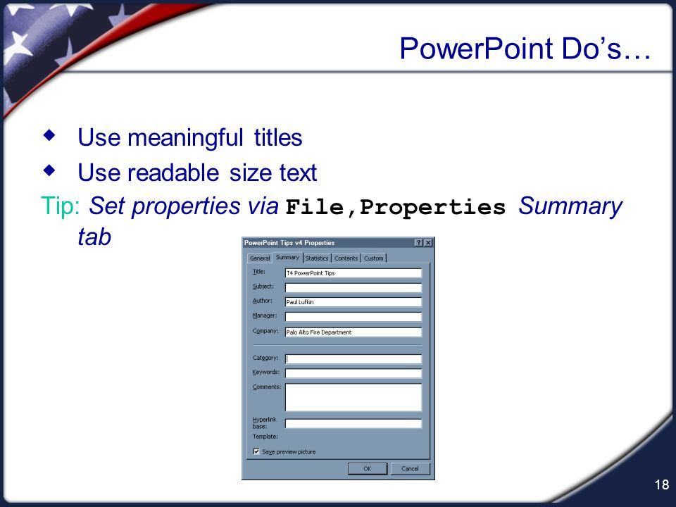 17 Handouts: Preview Preview how handouts will look in black & white before printing and duplication PowerPoints conversion from color to gray- scale
