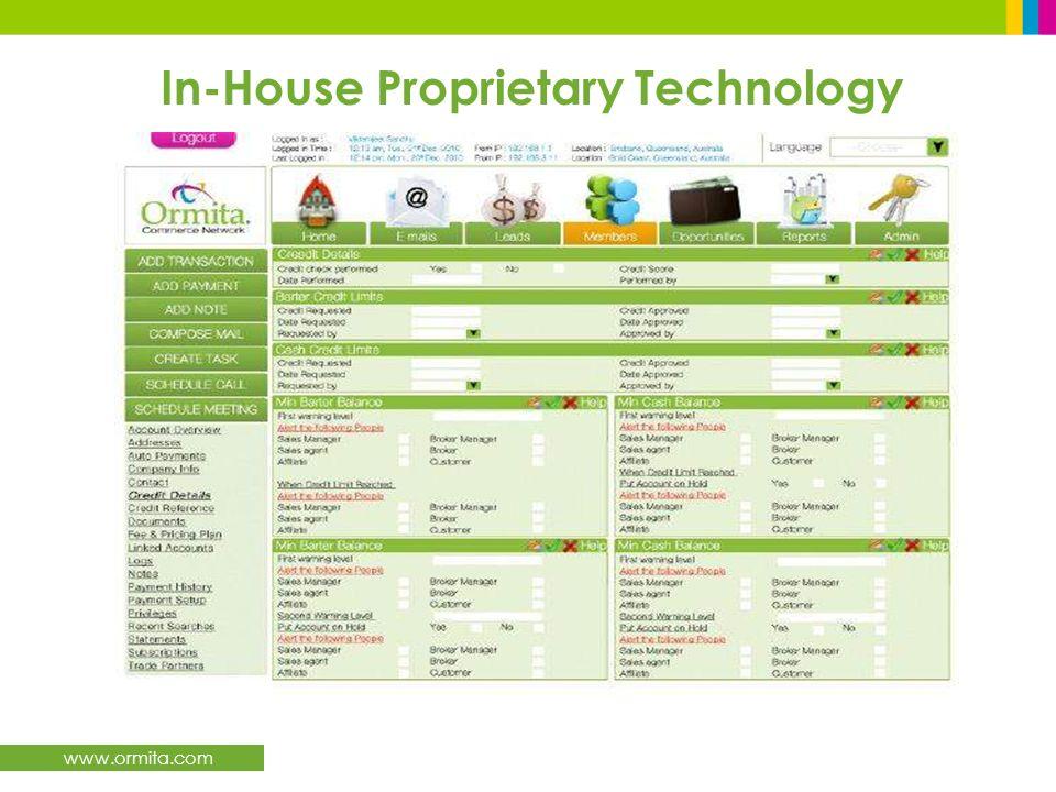 www.ormita.com In-House Proprietary Technology