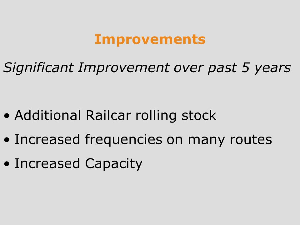 Improvements Significant Improvement over past 5 years Additional Railcar rolling stock Increased frequencies on many routes Increased Capacity