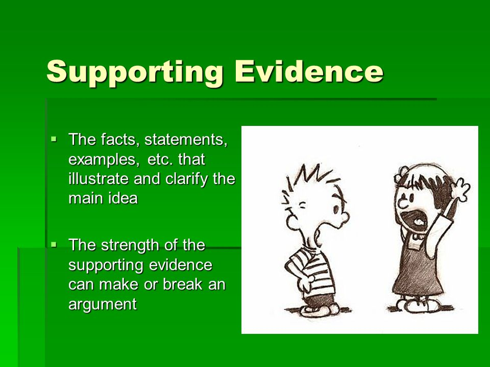 Supporting Evidence The facts, statements, examples, etc.