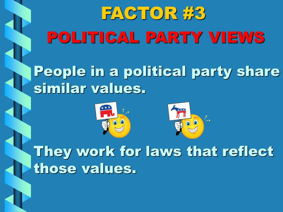 FACTOR #2 PERSONAL OPINION Members of Congress are human beings, just like you! Sometimes they agree with a bill, and sometimes they are totally again