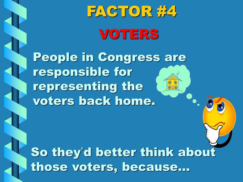 FACTOR #4 VOTERS There would be too many people in Congress if everyone went... So voters choose a few people to represent them.