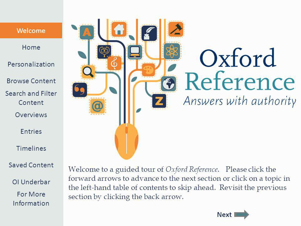 Welcome to a guided tour of Oxford Reference.