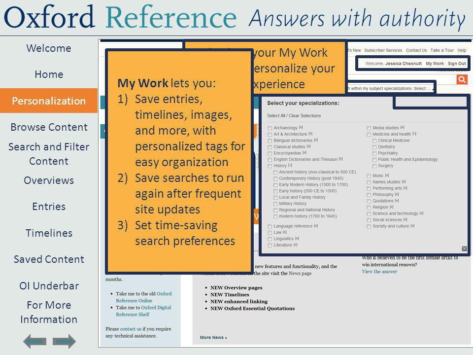 Welcome Search and Filter Content Timelines Entries Browse Content Personalization Home Saved Content Overviews OI Underbar For More Information Sign into your My Work profile to personalize your site experience My Work lets you: 1)Save entries, timelines, images, and more, with personalized tags for easy organization 2)Save searches to run again after frequent site updates 3)Set time-saving search preferences