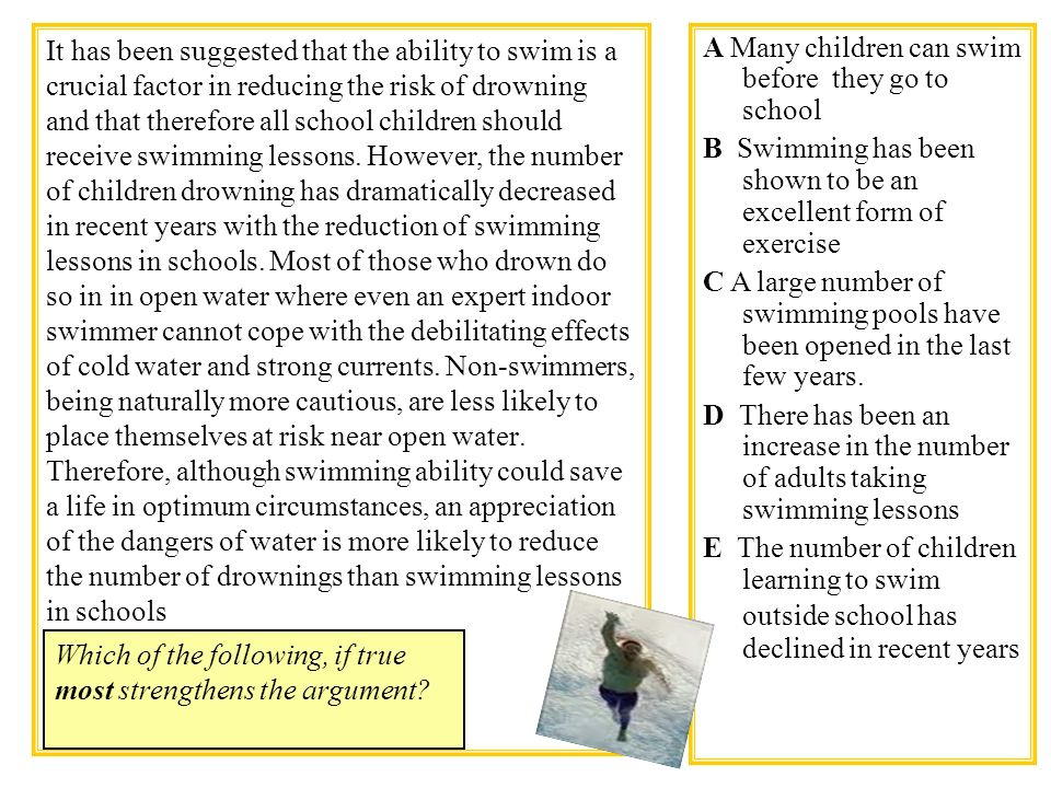 It has been suggested that the ability to swim is a crucial factor in reducing the risk of drowning and that therefore all school children should rece