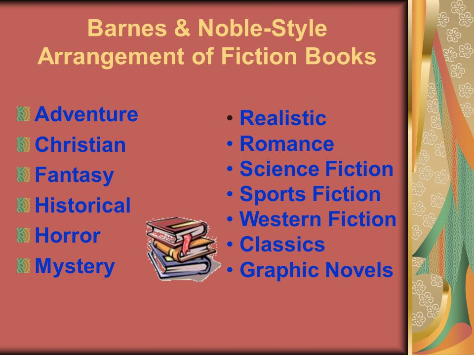Barnes & Noble-Style Arrangement of Fiction Books Adventure Christian Fantasy Historical Horror Mystery Realistic Romance Science Fiction Sports Fiction Western Fiction Classics Graphic Novels