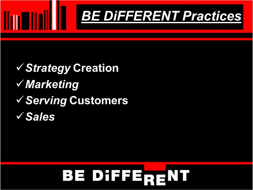 BE DiFFERENT Practices Strategy Creation Marketing Serving Customers Sales