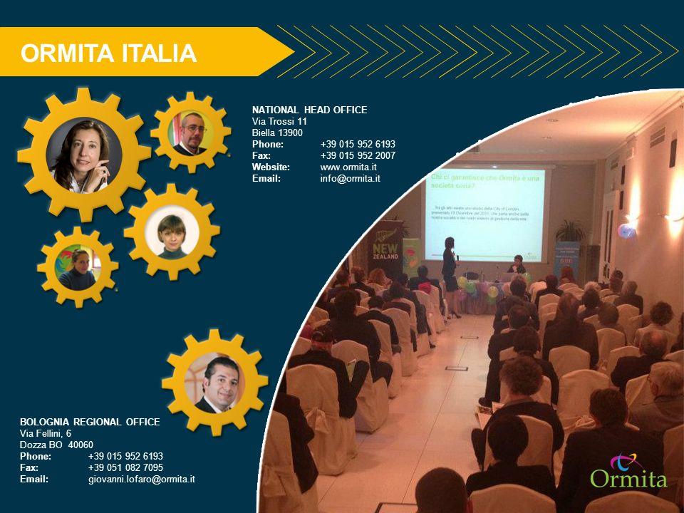 ORMITA ITALIA NATIONAL HEAD OFFICE Via Trossi 11 Biella 13900 Phone: +39 015 952 6193 Fax: +39 015 952 2007 Website: www.ormita.it Email: info@ormita.