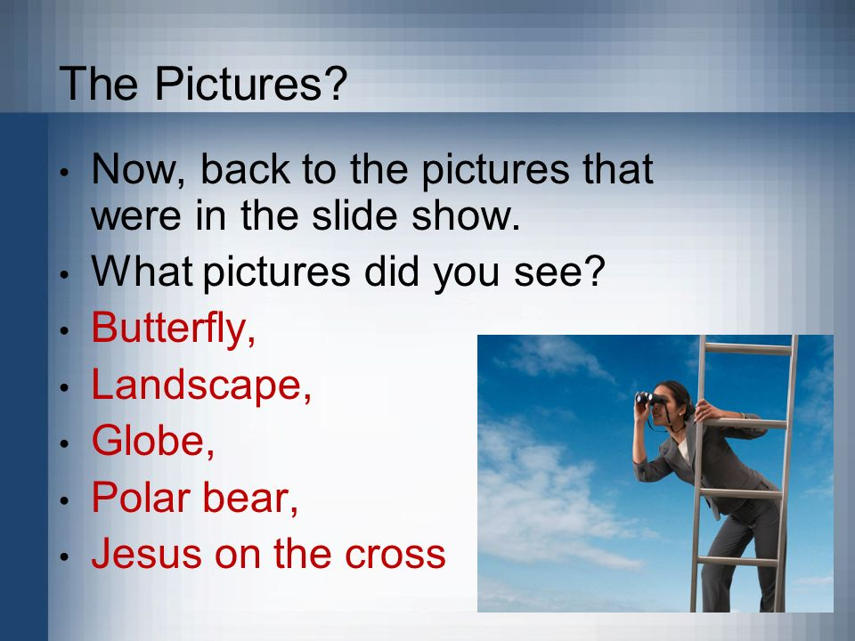 The Pictures? Now, back to the pictures that were in the slide show. What pictures did you see? Butterfly, Landscape, Globe, Polar bear, Jesus on the