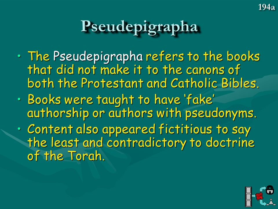 PseudepigraphaPseudepigrapha The Pseudepigrapha refers to the books that did not make it to the canons of both the Protestant and Catholic Bibles.The