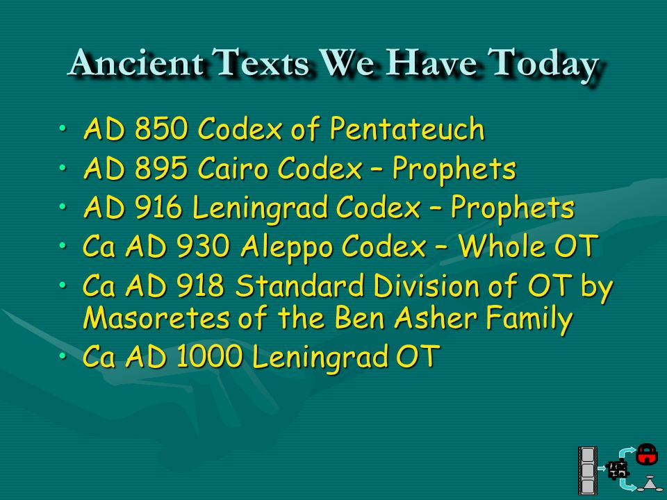 Ancient Texts We Have Today AD 850 Codex of PentateuchAD 850 Codex of Pentateuch AD 895 Cairo Codex – ProphetsAD 895 Cairo Codex – Prophets AD 916 Len