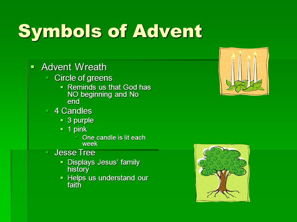 Symbols of Advent Advent Wreath Advent Wreath Circle of greens Circle of greens Reminds us that God has NO beginning and No end Reminds us that God ha
