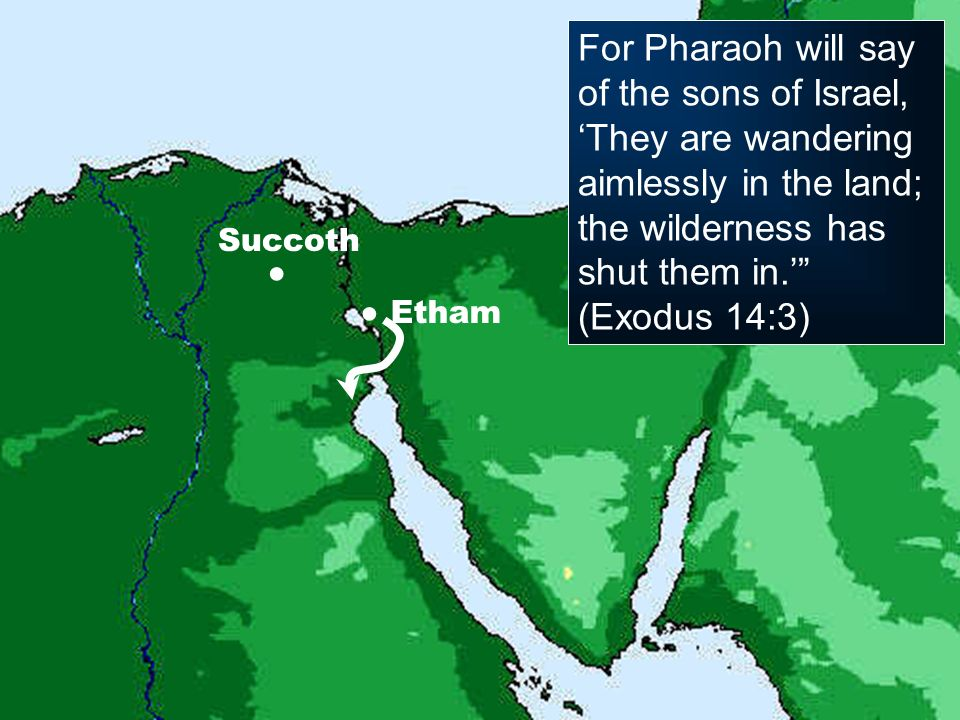 Succoth For Pharaoh will say of the sons of Israel, They are wandering aimlessly in the land; the wilderness has shut them in. (Exodus 14:3) Etham