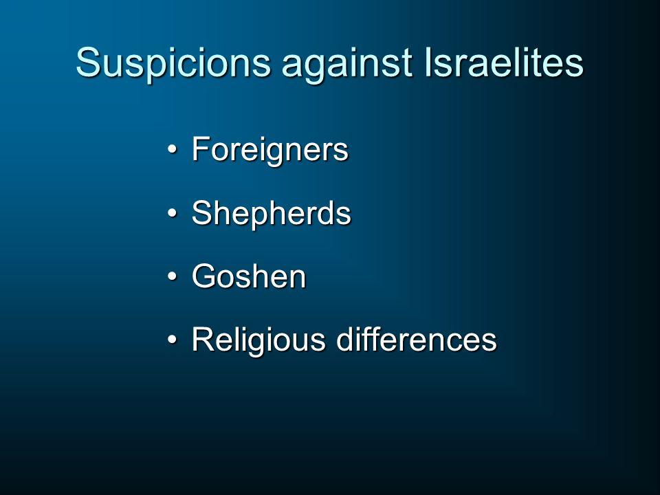 Suspicions against Israelites ForeignersForeigners ShepherdsShepherds GoshenGoshen Religious differencesReligious differences