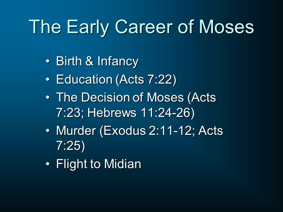 The Early Career of Moses Birth & InfancyBirth & Infancy Education (Acts 7:22)Education (Acts 7:22) The Decision of Moses (Acts 7:23; Hebrews 11:24-26