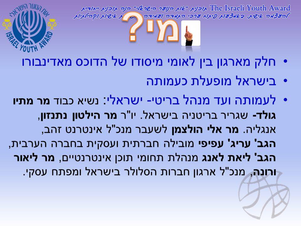 חלק מארגון בין לאומי מיסודו של הדוכס מאדינבורו בישראל מופעלת כעמותה לעמותה ועד מנהל בריטי - ישראלי : נשיא כבוד מר מתיו גולד - שגריר בריטניה בישראל. יו