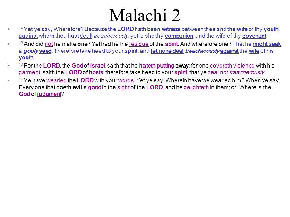 Malachi 2 14 Yet ye say, Wherefore.