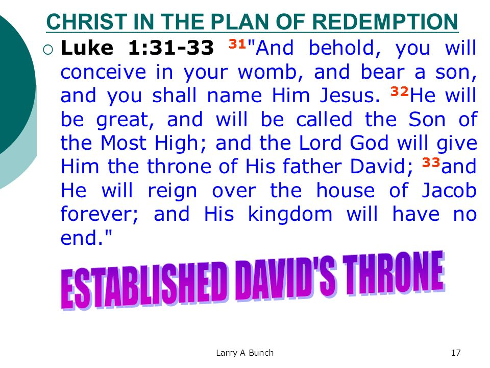Larry A Bunch17 CHRIST IN THE PLAN OF REDEMPTION Luke 1:31-33 31
