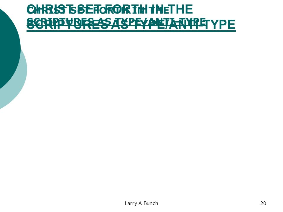 Larry A Bunch20 CHRIST SET FORTH IN THE SCRIPTURES AS TYPE/ANTI-TYPE