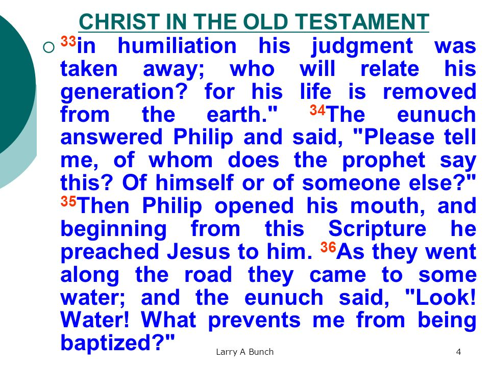 Larry A Bunch4 CHRIST IN THE OLD TESTAMENT 33 in humiliation his judgment was taken away; who will relate his generation? for his life is removed from