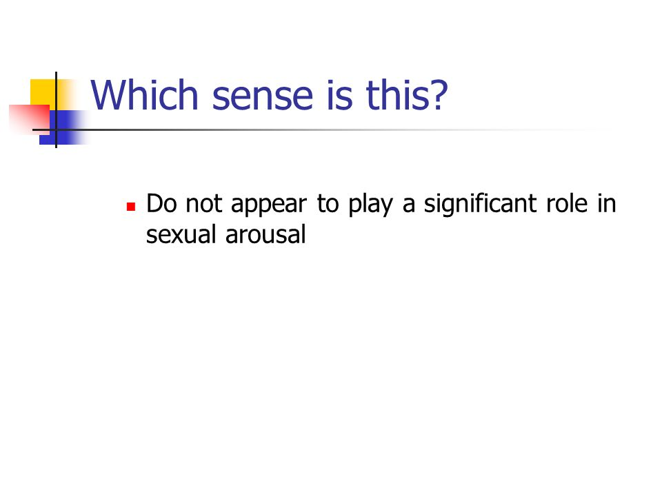 Which sense is this? Do not appear to play a significant role in sexual arousal