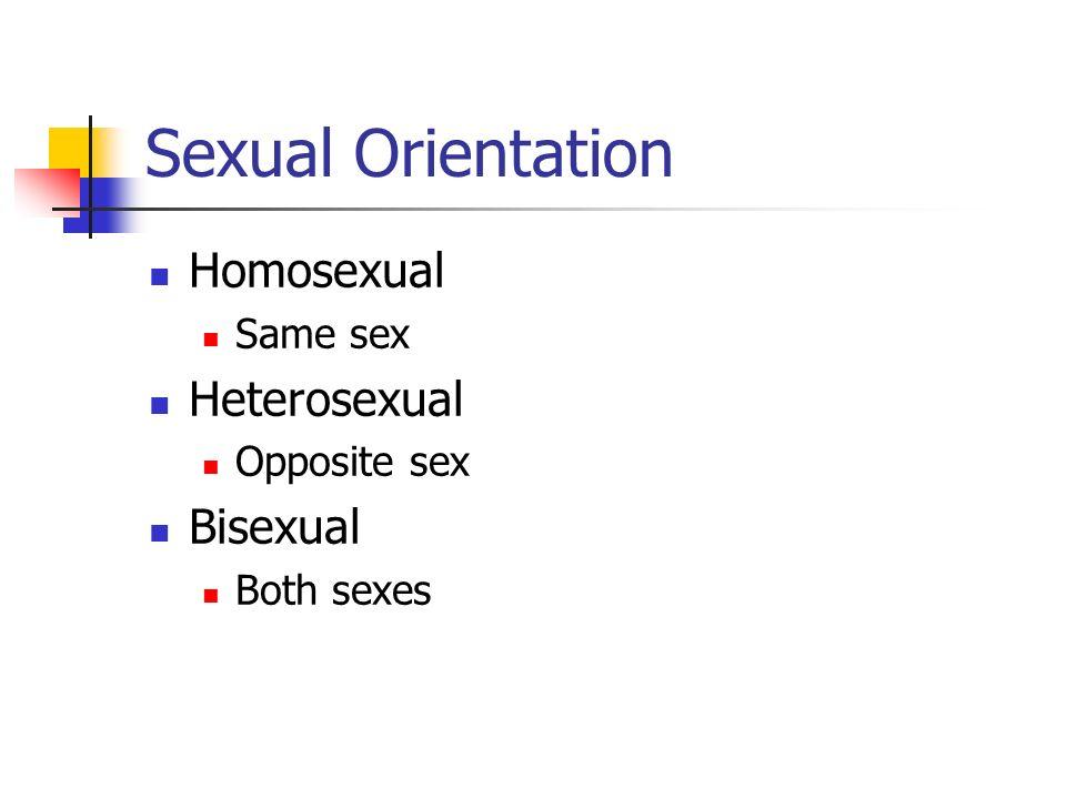 Sexual Orientation Homosexual Same sex Heterosexual Opposite sex Bisexual Both sexes