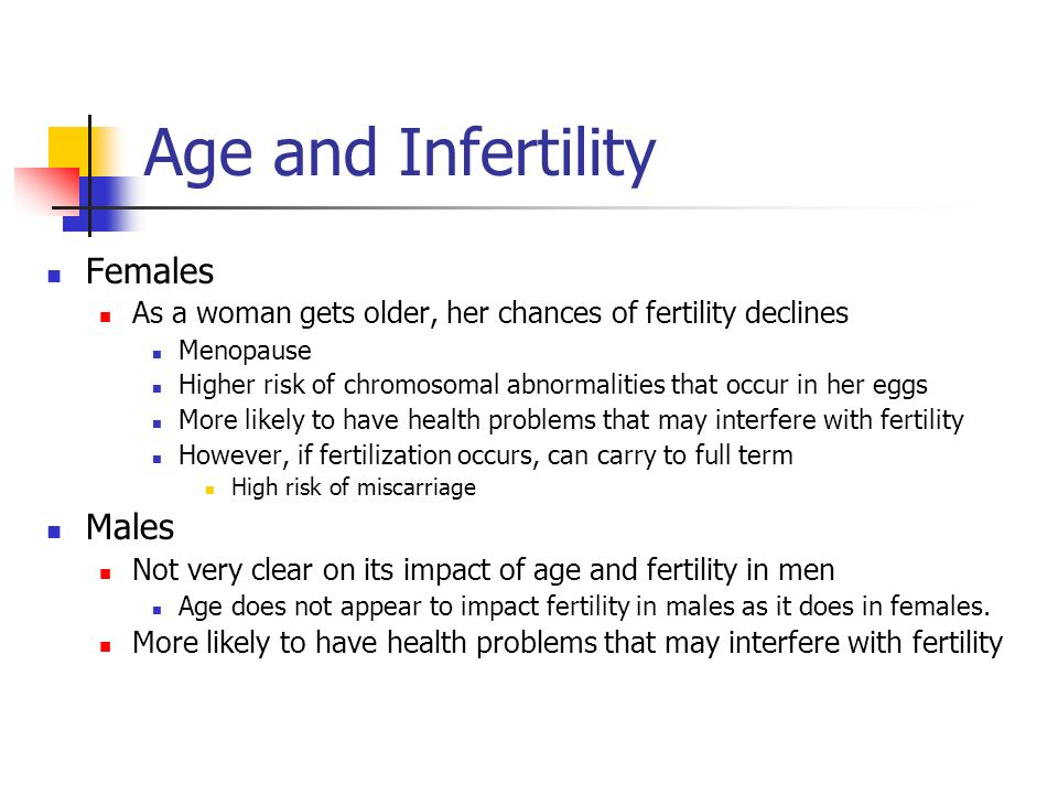 Age and Infertility Females As a woman gets older, her chances of fertility declines Menopause Higher risk of chromosomal abnormalities that occur in