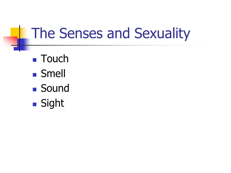 The Senses and Sexuality Touch Smell Sound Sight