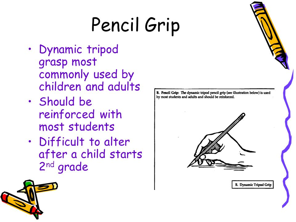 Pencil Grip Dynamic tripod grasp most commonly used by children and adults Should be reinforced with most students Difficult to alter after a child st