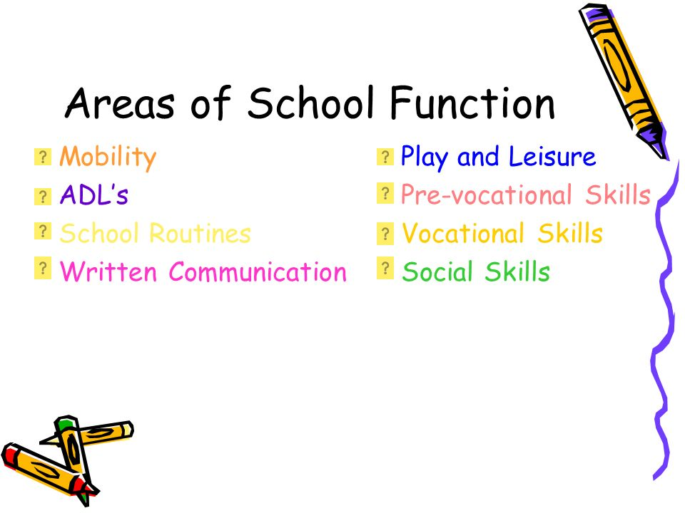 Areas of School Function Mobility ADLs School Routines Written Communication Play and Leisure Pre-vocational Skills Vocational Skills Social Skills