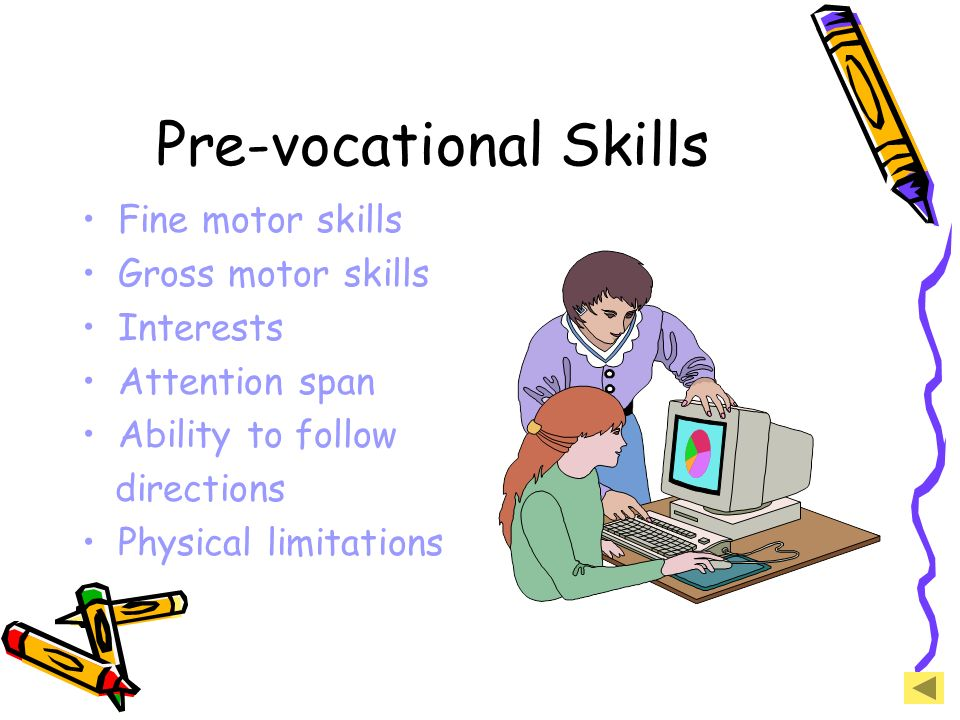 Pre-vocational Skills Fine motor skills Gross motor skills Interests Attention span Ability to follow directions Physical limitations