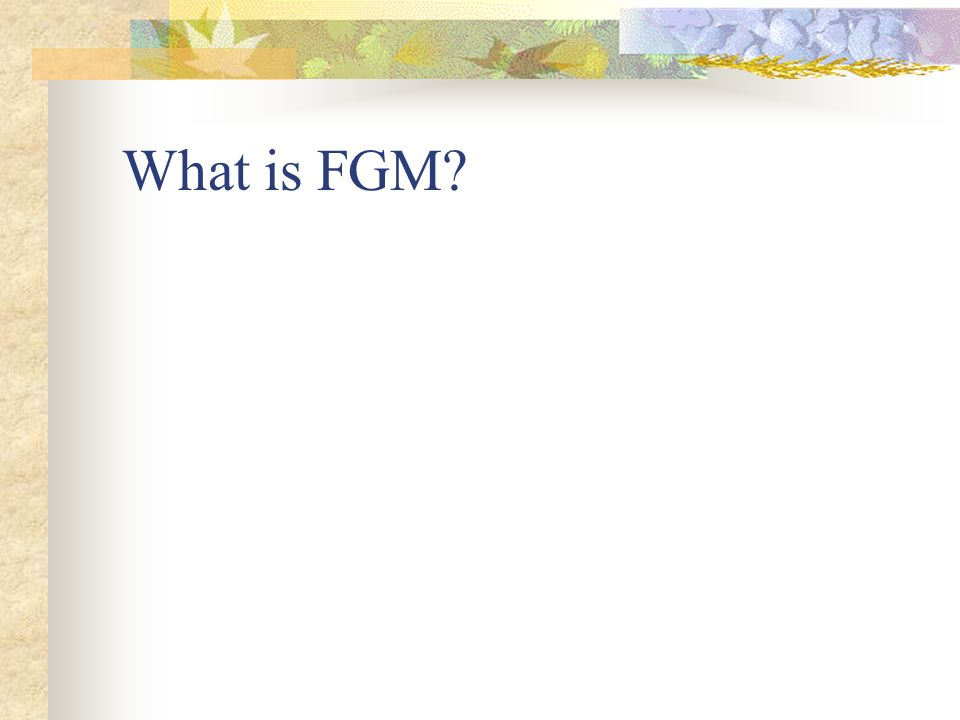 Female Genital Mutilation (FGM) aka Female Circumcision What is it? Types Areas where it is practiced