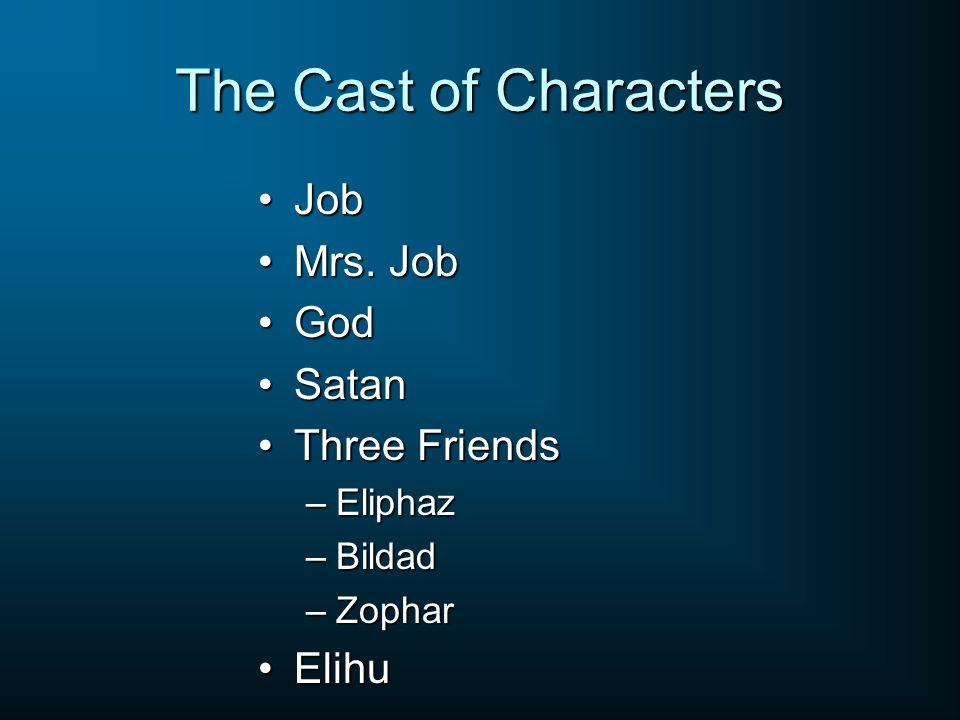 The Cast of Characters JobJob Mrs. JobMrs. Job GodGod SatanSatan Three FriendsThree Friends –Eliphaz –Bildad –Zophar ElihuElihu