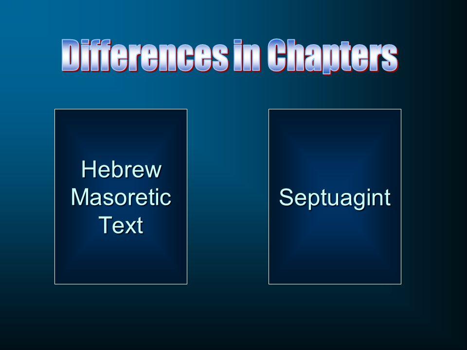 Hebrew Masoretic Text Septuagint