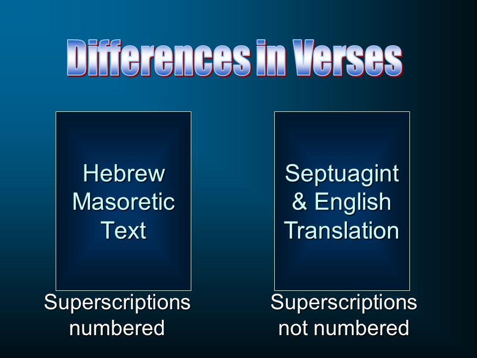 Septuagint & English Translation Superscriptions not numbered Superscriptions numbered