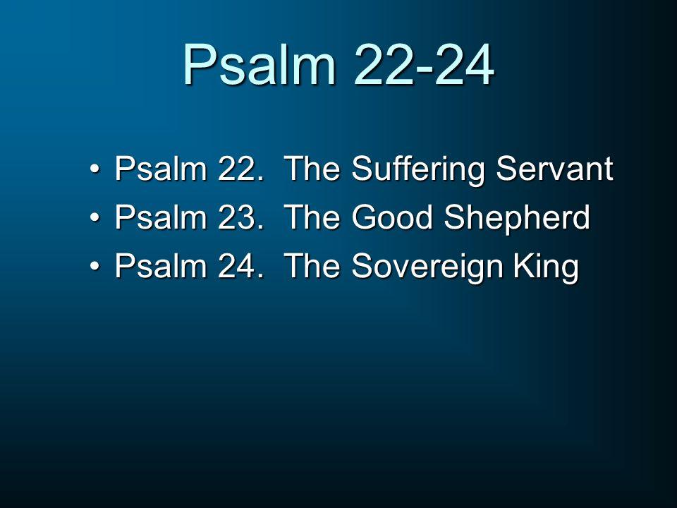 Psalm 22-24 Psalm 22. The Suffering ServantPsalm 22. The Suffering Servant Psalm 23. The Good ShepherdPsalm 23. The Good Shepherd Psalm 24. The Sovere