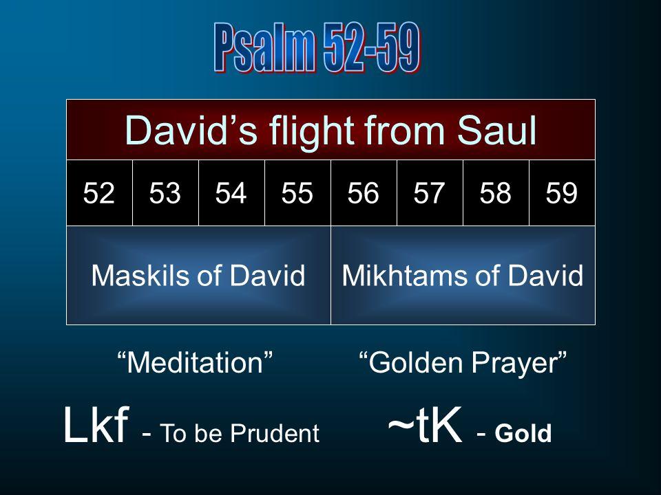 Meditation Lkf - To be Prudent Golden Prayer ~tK - Gold Davids flight from Saul Maskils of David 5253545556575859 Mikhtams of David