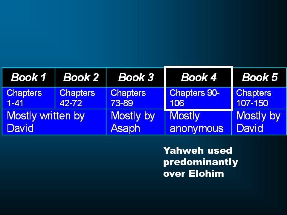 Yahweh used predominantly over Elohim