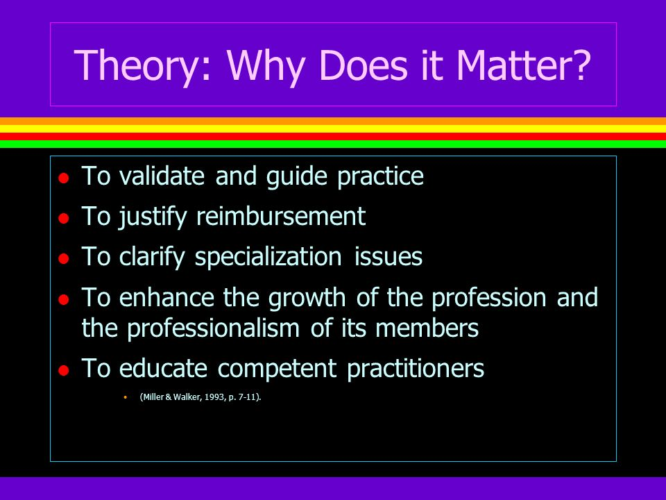 Theory: Why Does it Matter? l To validate and guide practice l To justify reimbursement l To clarify specialization issues l To enhance the growth of