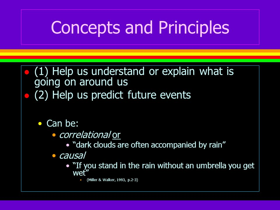 Concepts and Principles l (1) Help us understand or explain what is going on around us l (2) Help us predict future events Can be: correlational or da